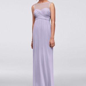 DAVID'S BRIDAL Long Mesh Dress w/Illusion Neckline